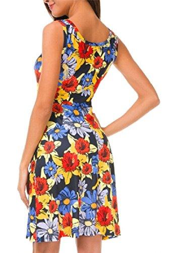 Print Jaycargogo Summer Floral Bohemian Women's 4 Swing Sleeveless Loose Dress qccHUF6