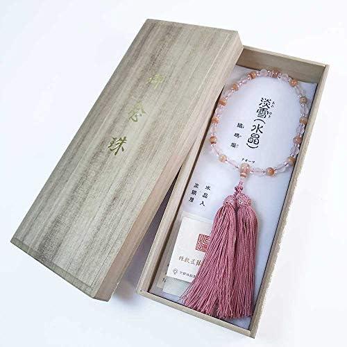 女性用数珠「淡雪水晶×縞メノウ:正絹松風頭房」桐箱入【京念珠匠琳之証書タグ付】