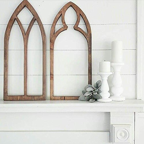Window Frame Antique Church Window Frame Cut Out Rustic Farmhouse Home Decor Cathedral Window Frame Faux Frame Gothic Tear Drop Hand-Cut by Three Arrows Collective (Image #3)