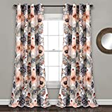 Lush Decor Leah Floral Darkening Coral and Gray Window Panel Curtain Set for Living, Dining Room, Bedroom (Pair), 84' L
