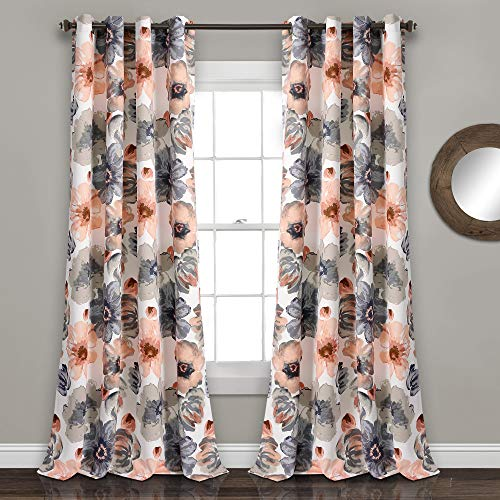 (Lush Decor Leah Floral Room Darkening Window Panel Curtain Set for Living, Dining, Bedroom (Pair), 95