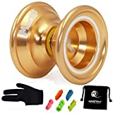 MAGICYOYO Yoyo Magic yoyo N6 Magistrate Professional Alloy Yoyo UnresponsiveYoyo Bag + 5 Strings+ Glove Gift (Golden)