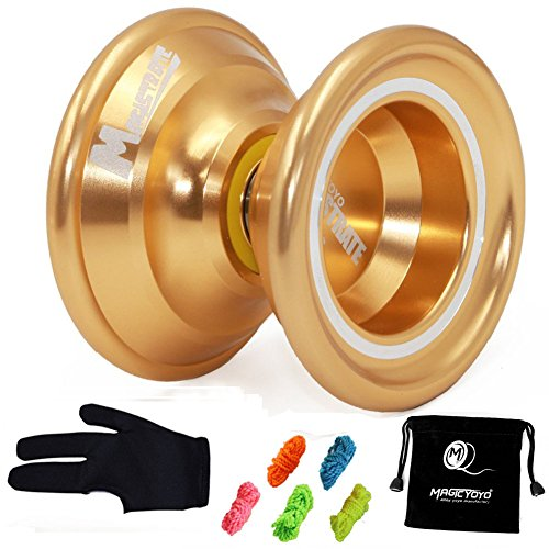 Professional Magic - Yoyo Magic yoyo N6 Magistrate Professional Alloy Yoyo UnresponsiveYoyo Golden with Bag + 5 Strings+ Glove Gift
