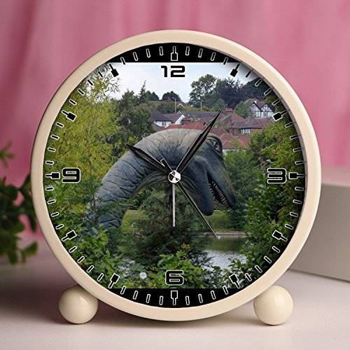 Union Canal - Alarm Clock, Bedroom Tabletop Retro Portable Clocks with Nightlight Custom designs Dinosaurs 239_Dinosaur next to the Grand Union Canal in Kings Langley