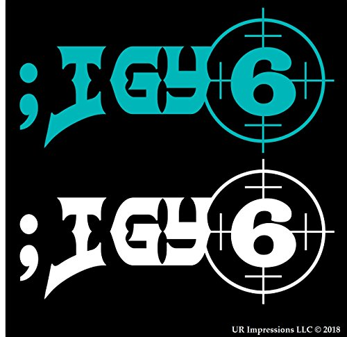 (UR Impressions Teal/Wht ;IGY6 - I Got Your 6 2-Pack Decal Vinyl Sticker Graphics Car Truck SUV Van Wall Window Laptop|Teal & White|6 X 2.7 Inch|URI626)