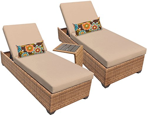TK Classics LAGUNA-2x-ST Laguna Chaise Outdoor Wicker Patio Furniture with Side Table, Set of 2, Wheat Review