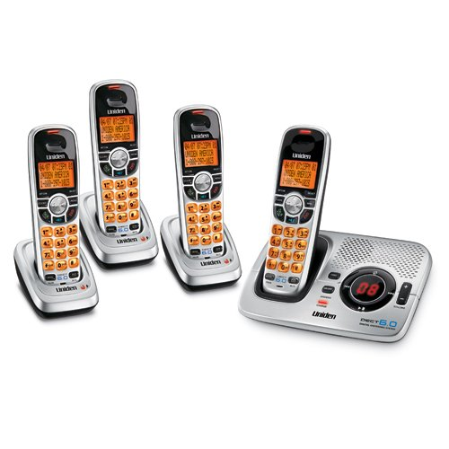 (Uniden DECT 6.0 Silver Cordless Digital Answering System with Caller ID and Four Handsets)