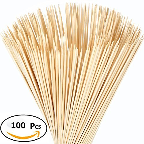 Beyonder Bamboo Marshmallow Roasting Sticks with 30 Inch 5mm Thick Extra Long Heavy Duty Wooden Skewers, Roaster Barbecue Smores Skewers & Hot Dog Forks for Camping ,Party,Kebab Sausage (100 (100 Pc Bamboo Skewers)