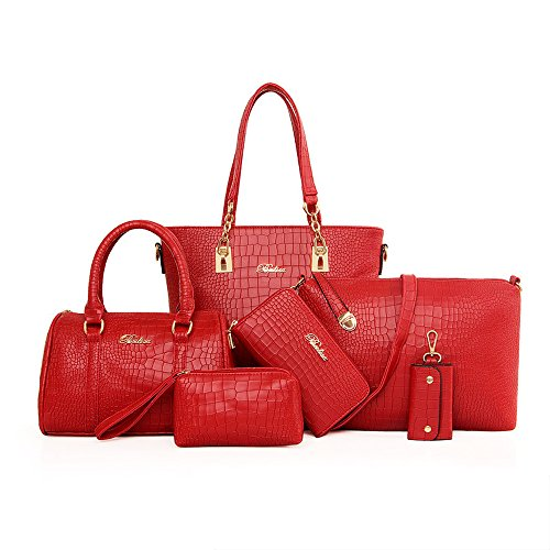 Imported Top Handle Bags - H&X Women Totes 6 Pcs Shoulder Bags Top-Handle Handbag Purse Set (Stone Red)