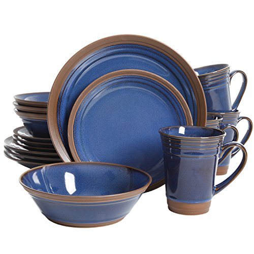 Cobalt Blue Rim Soup - Gibson Elite 114317.16RM Brynn 16 Piece Reactive With Raw Edge Dinnerware Set, Cobalt