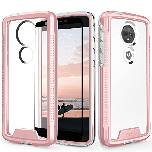 Zizo ION Series Compatible with Motorola Moto e5 Supra Case Military Grade Drop Tested with Tempered Glass Screen Protector e5 Plus Rose Gold Clear