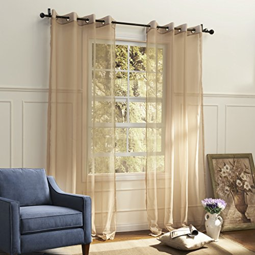 IYUEGO Country Elegant Beige Solid Eco-friendly Sheer Curtains Grommet Top With Custom Multi Size 100