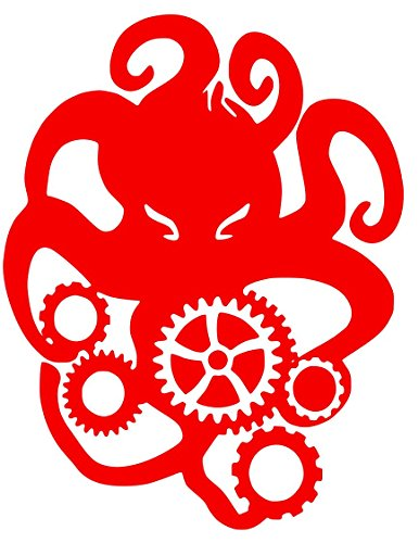 Cthulhu Octopus Steampunk Sticker Decal (15''x10'', Red)
