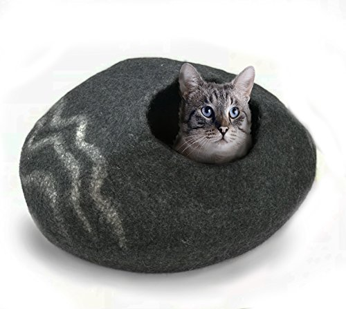 100% Natural Wool Large Cat Cave - Handmade Premium Shaped Felt - Makes Great Covered Cat House and Bed for Kitty. for Indoor Cozy Hideaway. Large Pod Soft Hooded Bed Area. (Charcoal Wiggle)