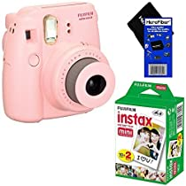 Fujifilm Instax Mini 8 Instant Film Camera (Pink) + Fujifilm Instax Mini Instant Film (20 sheets) + HeroFiber Ultra Gentle Cleaning Cloth