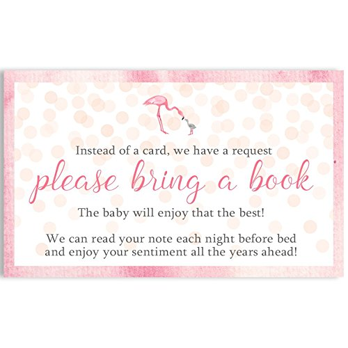 Watercolor Flamingo, Baby Shower, Bring A Book Card, Baby Shower Invitation Book Inserts, Pink, Girls, Watercolor, Tropical Beach, Little Flamingo, 24 Printed Book Request Inserts