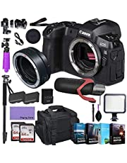 CanonEOS R Mirrorless Digital Camera (Body Only) and Mount Adapter EF-EOS R kit Bundled with Deluxe Accessories Like Pro Microphone, High Speed Flash, 4-Pack Photo Editing Software and More…
