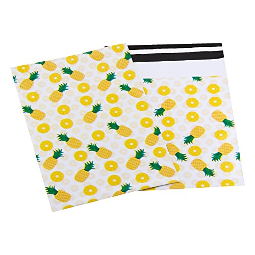 Pack4Life 10x13 Pineapple Designer Poly Mailers Self Sealing Shipping Envelopes Bags for Business, Gifts Package Pack of 100 (Shipping Sealing Bags)