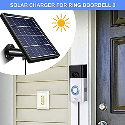 SATINIOR Solar Panel Compatible Ring Video Doorbell 1/2, Waterproof Charge Continuously, 5 V/ 3.5 W (Max) Output, Includes Secure Wall Mount, 3.6 M/12 ft Power Cable