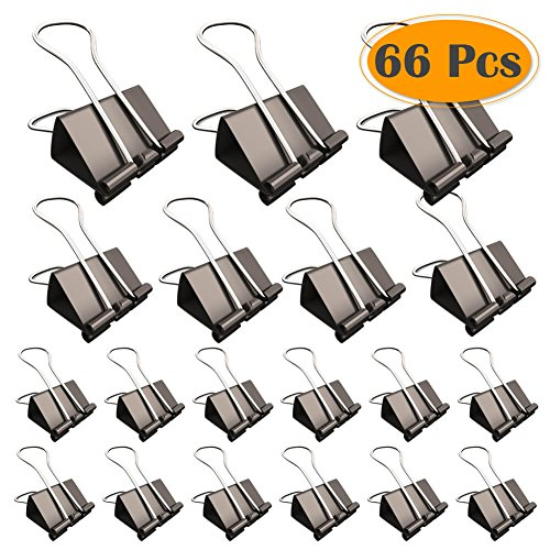 Selizo 66 Pcs Black Binder Clips with Assorted Sizes (Black Clips Metal)