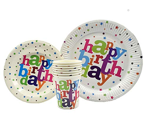 Birthday Paper Products (Happy Birthday Plates & Napkins Set for 20 People-Sturdy Birthday Party Supplies Pack with Large Paper Plates, Small Plates, Cups, Napkins, Straws Best for Girls & Boys (A-Happy)