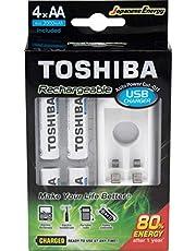 Carregador de Pilha USB p/2 pilhas AA/AAA c/ 4 Pihas