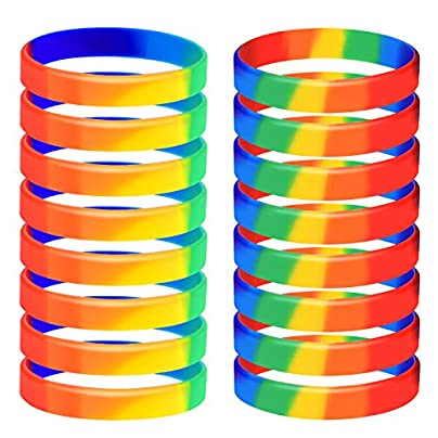 TUPARKA 20pcs Gay Pride Wristbands LGBT Lesbian Rainbow Wristbands Silicone Sports Rubber Bracelets 6 Colors Estimated Price -