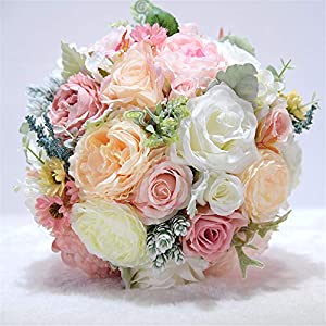 MOJUN Artificial Flowers Rose Peony Bouquet Silk Flower Artificial Roses Bridal Wedding Bouquet for Home Garden Party Wedding Decoration, Pink