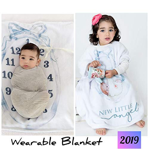 Extra Wide Neck Wearable 0-3 yrs Baby Monthly Milestone Blanket for Boy Girl, Personalized 2in1 Receiving Photography Blankets, Thick Fleece for Mom Newborn Baby Shower Gifts + Frame Ribbon -