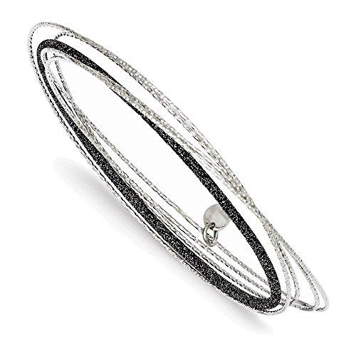 Sterling Silver Black Glitter Enamel Polished & D/C Bangle Bracelet
