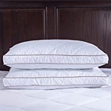puredown Goose Down Feather Pillows for Sleeping, Down Pillow, Cotton Pillow Cover, for Side Sleeping (Standard/Queen)