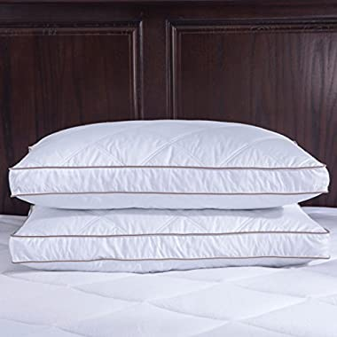 Puredown Goose Feather and Down Pillow, 100% Cotton Fabric, Gusset Siding, King Size, Set of 2