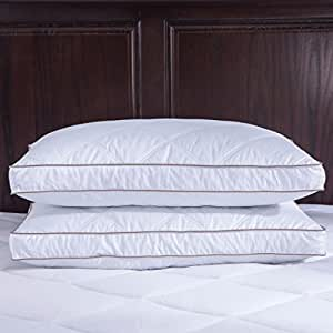 puredown Goose Down Feather Pillows for Sleeping Down Pillow Jumbo Cotton Pillow Cover for Siding Sleeping Set of 2