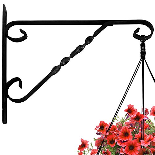 AMAGABELI GARDEN & HOME Hanging Plants Bracket 12'' Wall Planter Hook Flower Pot Bird Feeder Wind Chime Lanterns Hanger Patio Lawn Garden for Shelf Shelves Fence Screw Mount against Door Arm Hardware ()