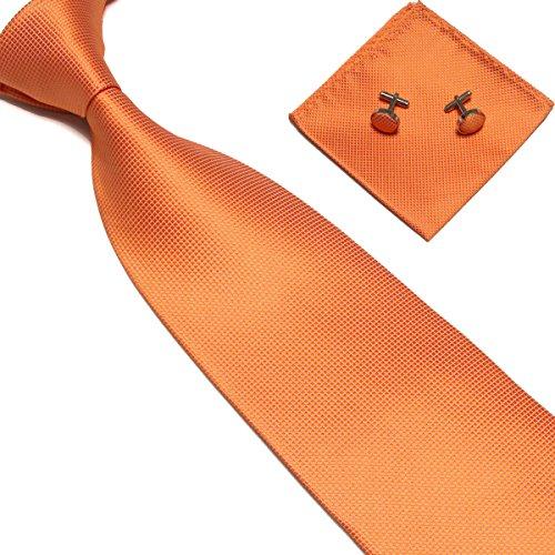 Stylefad Men's Solid Plaid Wide Neck Tie Set Hanky Cufflink Orange