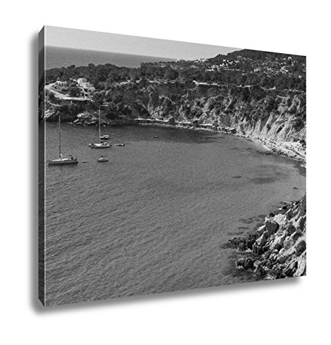 Ashley Canvas A Panoramic View Of The Cala De Hort Cove In Ibiza Island Spain And Its, Wall Art Home Decor, Ready to Hang, Black/White, 16x20, AG6536005 by Ashley Canvas