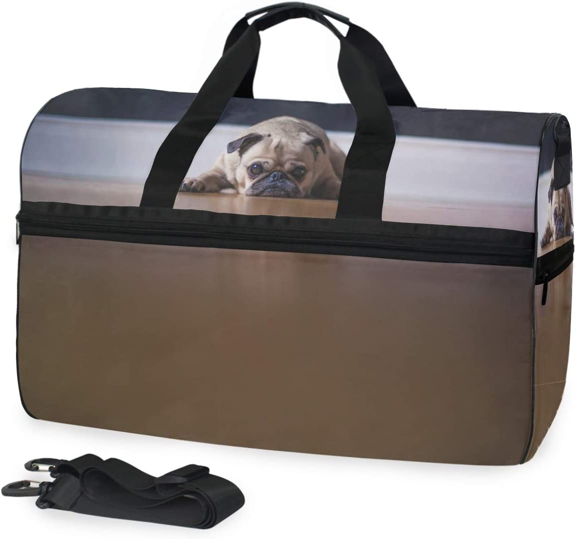 MUOOUM Pug Dog So Sad Large Duffle Bags Sports Gym Bag with Shoes Compartment for Men and Women