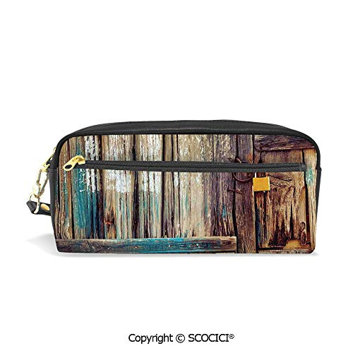 Girls Boys 3D Printed PU Pencil Case Holders Bag with Zipper Aged Shed Door Backdrop with Color Details Country Living Exterior Pastoral Mansion Image Stationery Makeup Cosmetic Bags Back to School