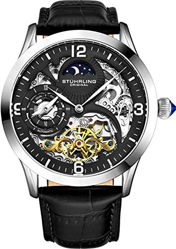 Stührling Original Automatic Watch for Men Skeleton Watch Dial, Dual Time, AM/PM Sun Moon, Leather Band, 571 Mens Watches - Face Watch Moon