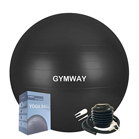 GYMWAY Exercise Ball (SML XL) Extra Thick Yoga Ball, Anti-Burst Heavy Duty Stability Ball Supports 2200lbs, Birthing Ball with Quick Pump (Office & ...
