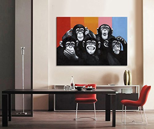 Animals Canvas Print Wall Art,Modern Black And White Gorilla Monkey Oil Painting Wall Painting Canvas Painting Home Decor Animal Prints (24