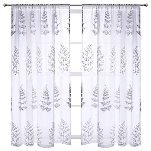 - 1 Pair Tree Sheer Curtains Voile Window Panel Embroidery Floral Drapes Rod Pocket Home Decorative for Living Room, Bedroom, Sliding Door, 54 x 84 inch (Gray)