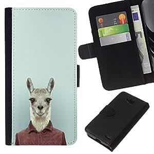 KLONGSHOP // Tirón de la caja Cartera de cuero con ranuras para tarjetas - Lindo divertido del inconformista Lama Alpaca en el juego - LG OPTIMUS L90 //