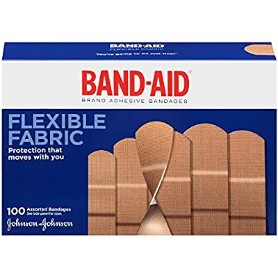 Band-Aid Brand Flexible Fabric Adhesive Bandages for Minor Wound Care, Assorted Sizes, 100 Count by Band-Aid
