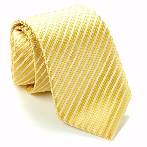 Scott Allan Collection Striped Ties for Men - Woven Necktie - Yellow w/Silver