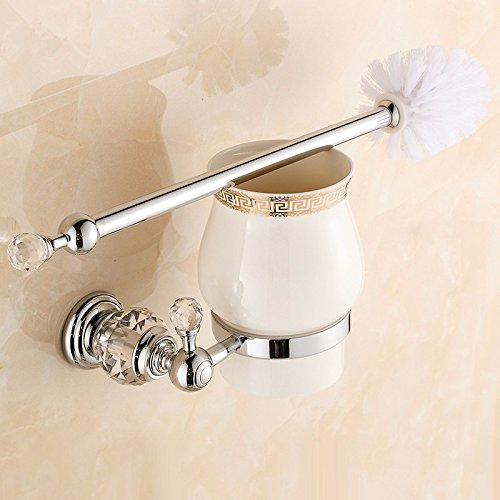 Lx.AZ.Kx Toilet Brush and Holder with long handle for Bathroom Toilet The Copper Continental Crystal Hardware Toilet Silver