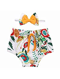 Newborn Baby Girl Floral Diaper Cover Bloomers Drawstring Triangle Shorts PP Pants with Headband