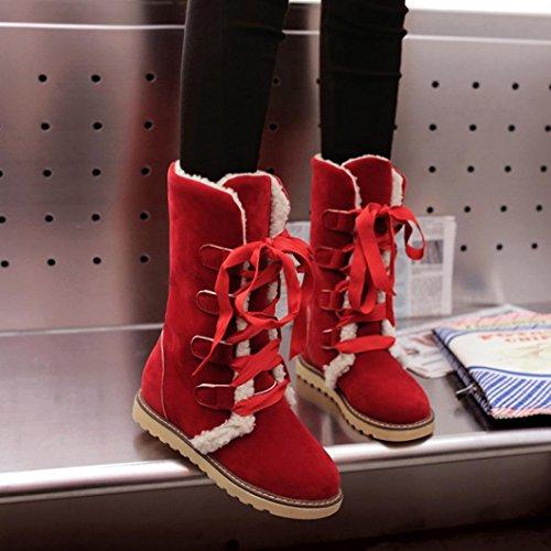 verband casual frau schnee schuhe stiefel stiefeletten hunpta wintermode weibliche frauen rot qTpSwqtBx