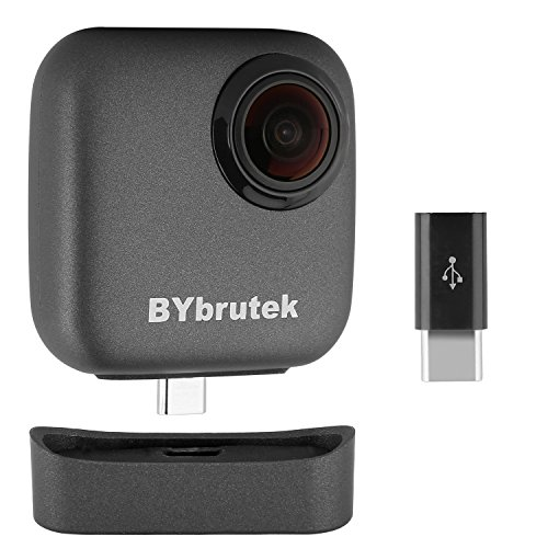 360 Degree Video Camera for Android 5.0 or Above Smartphone, BYbrutek High Resolution VR Video Panoramic Camera, Instantly View & Share to Social Media, Type-C Adapter Included