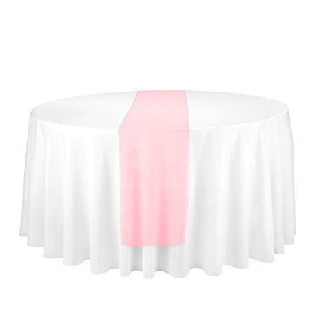 LinenTablecloth Organza Table Runner Coral, 14 Inch By 108 Inch, Coral